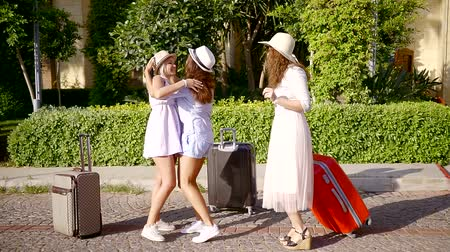 aktatáska : a meeting of girlfriends who gathered for summer time vacation with suitcases