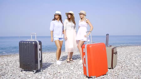 holiday villa : three slim tourists women are standing on a pebble beach near sea, their suitcases are in foreground