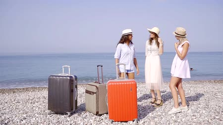 arriving : adult women are standing on a pebble seashore in sunny summer day, chatting and smiling, suitcases Stock Footage