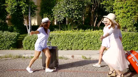 bavul : one adult tourist woman is waving hand and welcoming her friends girls with suitcases in sunny summer day