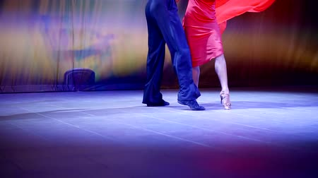 taniec towarzyski : Professional dancers on stage dancing Latin dance in red dress and pants Wideo