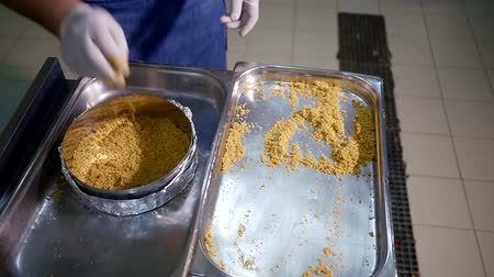 kabuksuz tahıl : Pastry cook putting ground cookies to the steel bowl in restaurant kitchen.