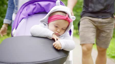 babygirl : Close up shot of a cute child looking outside of a stroller during nice summer ride.