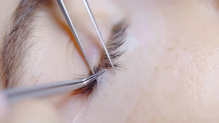 lepení : master of lash extension is putting false lashes near natural on eyelid of young woman, close-up Dostupné videozáznamy