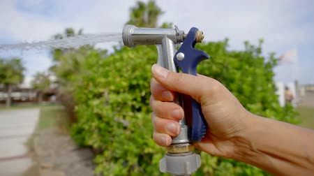 bica : Close-up shot of a womans hand with a hose watering lawn, water under pressure.