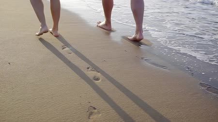 barefooted : barefooted man and woman are walking together on sea shore, leaving traces on wet sand, close-up