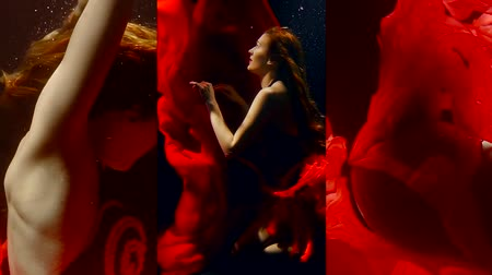 mermaid : Vertical video of a girl under water in the dark in a long red dress floats like in a fairy tale mermaid