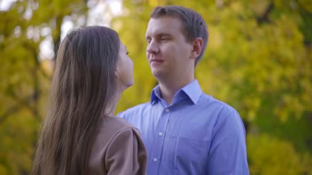 cherish : Sweet married couple together in nature in fall. Stock Footage
