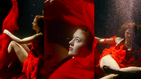 sereia : Vertical video of a pretty girl with red hair under water in a red chic dress, as in a fairy tale mermaid swims under water