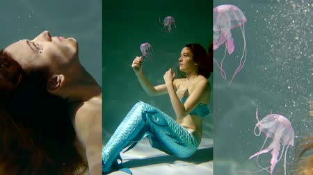 mermaid : Vertical video of a pretty girl with red hair under water. mermaid with big tail she plays jellyfish