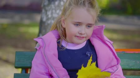 autumn leaves : Portrait of adorable blonde little girl sitting on a bench with a big yellow leaf, great mood. Stock Footage