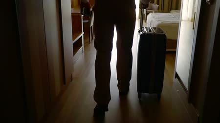 arriving : Shot from behind of a businessman on a business trip, staying in a luxury hotel. Stock Footage
