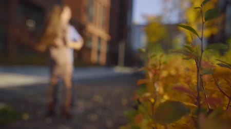 поглаживание : blurred figures of dancing pair in city street in autumn day, picturesque vivid bush is in foreground Стоковые видеозаписи