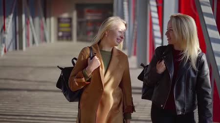 benzer : two happy twin sisters walk around the business center in the afternoon on a Sunny day Stok Video