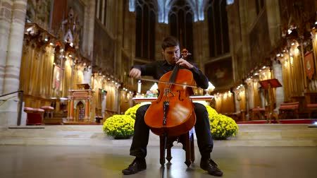 виолончель : Man professional classical musician playing cello in the Cathedral Стоковые видеозаписи