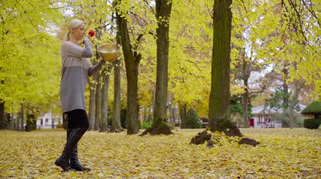 ascetic : adult blonde woman is striking over tibetan copper bowl by resonator stick in empty park in autumn day