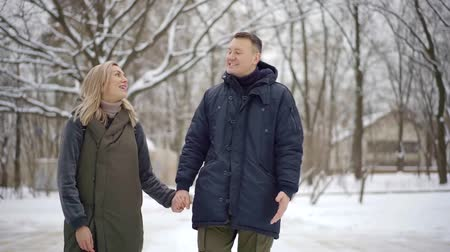 folga : cheerful European couple walks on a day off in the snow-covered Park Stock Footage