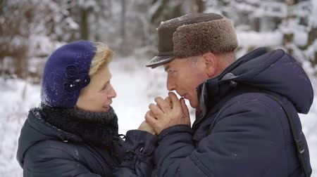 warms : an elderly couple of pensioners on a walk in the winter afternoon. a man warms his wife hands and blow on them with warm breath Stock Footage
