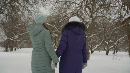 sexualita : cheerful adult lesbian couple on the street in the afternoon in winter walk through the Park in snowy weather holding hands. warm comfortable clothes