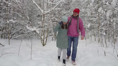 sobre : happy couple walking in the snowy, white, winter forest. Laugh and admire around. Stock Footage