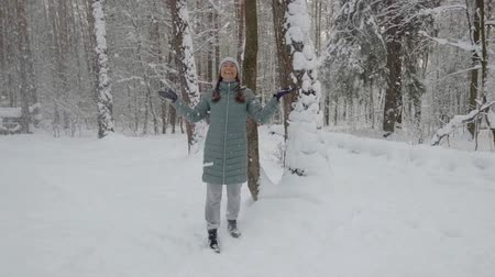 среда : happy middle-aged woman walking in snowy winter forest by day and plays to shake an avalanche with wood to enjoy life Стоковые видеозаписи
