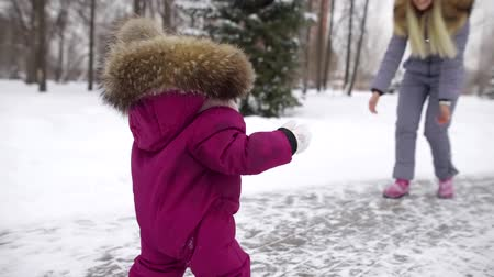 front or back yard : happy mother is beckoning her little child and learning it to walk in park area in winter day