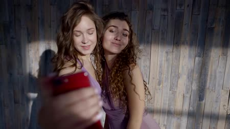 benzer : two beautiful girls in similar purple dresses take a selfie on the phone, pose, smile Stok Video