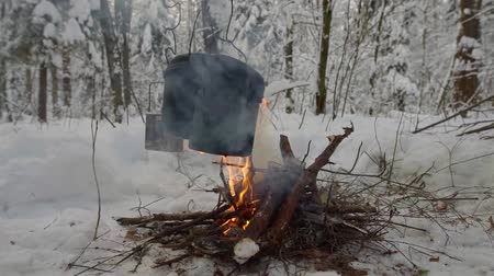 espetos : Cooking outdoor in winter forest, big pot hanging above the fire. Stock Footage