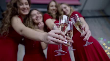 bachelorette party : Bachelorette party: below shot of four girl with champagne, beautiful girl on hen party.