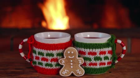 Two cup of mulled wine and Christmas gingerbread cookie