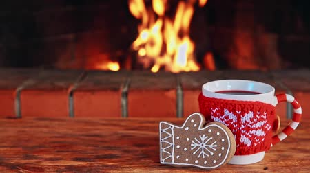 şömine : Cup of mulled wine and Christmas cookie against fireplace
