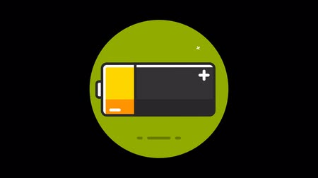 alkaline : Battery Premium icon with alpha Flat design style Stock Footage
