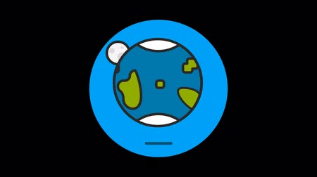 prim : Earth Premium icon with alpha Flat design style Stok Video