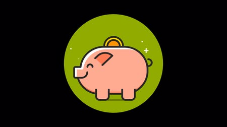 contornos : Money Pig Premium icon with alpha Flat design style Vídeos