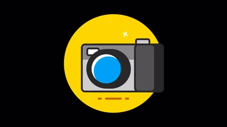 kompakt : Photo Camera Premium flat icon animated with alpha channel