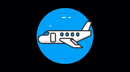 steward : Plane Premium flat icon animated with alpha channel