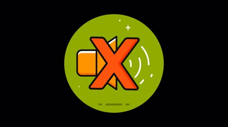 mikrofon : Sound Turned off Premium flat icon animated with alpha channel