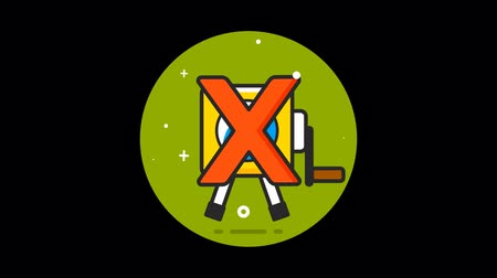 estilizado : Video Camera Forbidden Premium flat icon animated with alpha channel