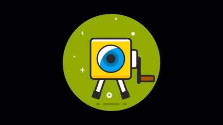 sinematografi : Video Camera flat icon animated with alpha channel Stok Video