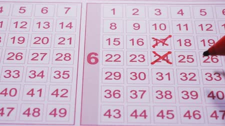 Lottery numbers ticket. Marker pen fills in lottery ticket