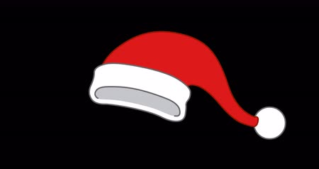 Animation of a happy Santa Claus hat. Including alpha channel
