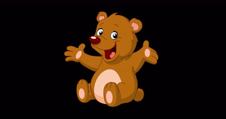 do widzenia : Animation of a happy teddy bear waving with his hand