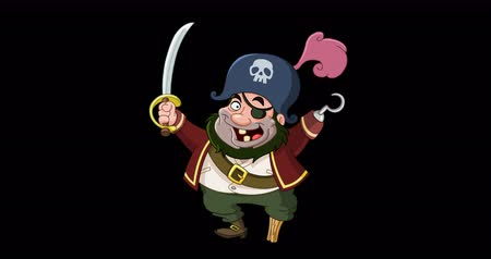 korsan : Animation of a happy cartoon pirate with a sword peg leg and hook hand. Including alpha channel. Stok Video