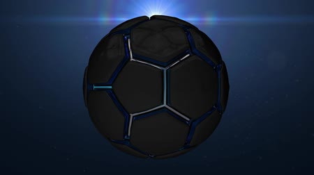 jogador de futebol : Metallic glossy black blue ball background