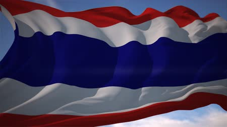 election : Thailand Flag movement close up with sky Stock Footage