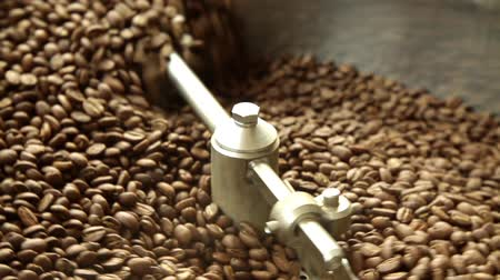 black coffee : Close-up of roasting coffee Stock Footage