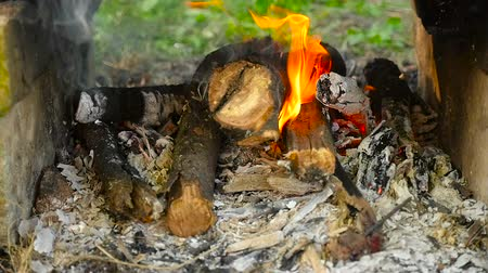 open hearth : Firewood burn in slow motion. Close-up Stock Footage