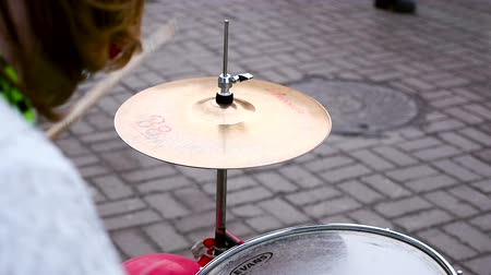Drum set, close-up. Hands playing the drums. Slow motion