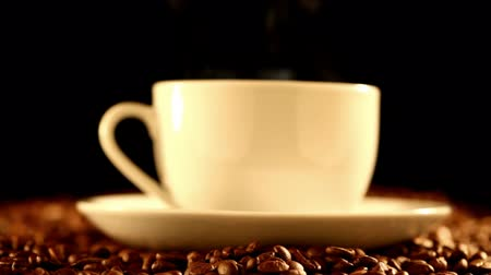 kahve molası : Coffee cup standing on beans close-up Stok Video