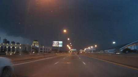 electrostatic : Night sky with lightning and storm when driving on the expressway. Stock Footage